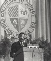 Dr. Martin Luther King , Jr. during his 1967 address at Saint Joseph's University.