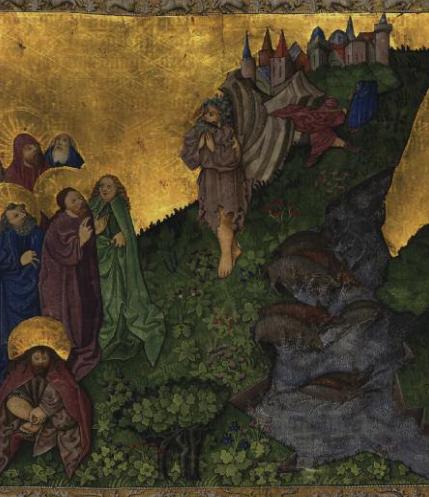 Medieval illumination of Jesus exorcizing the Gerasene demoniac from the Ottheinrich Folio