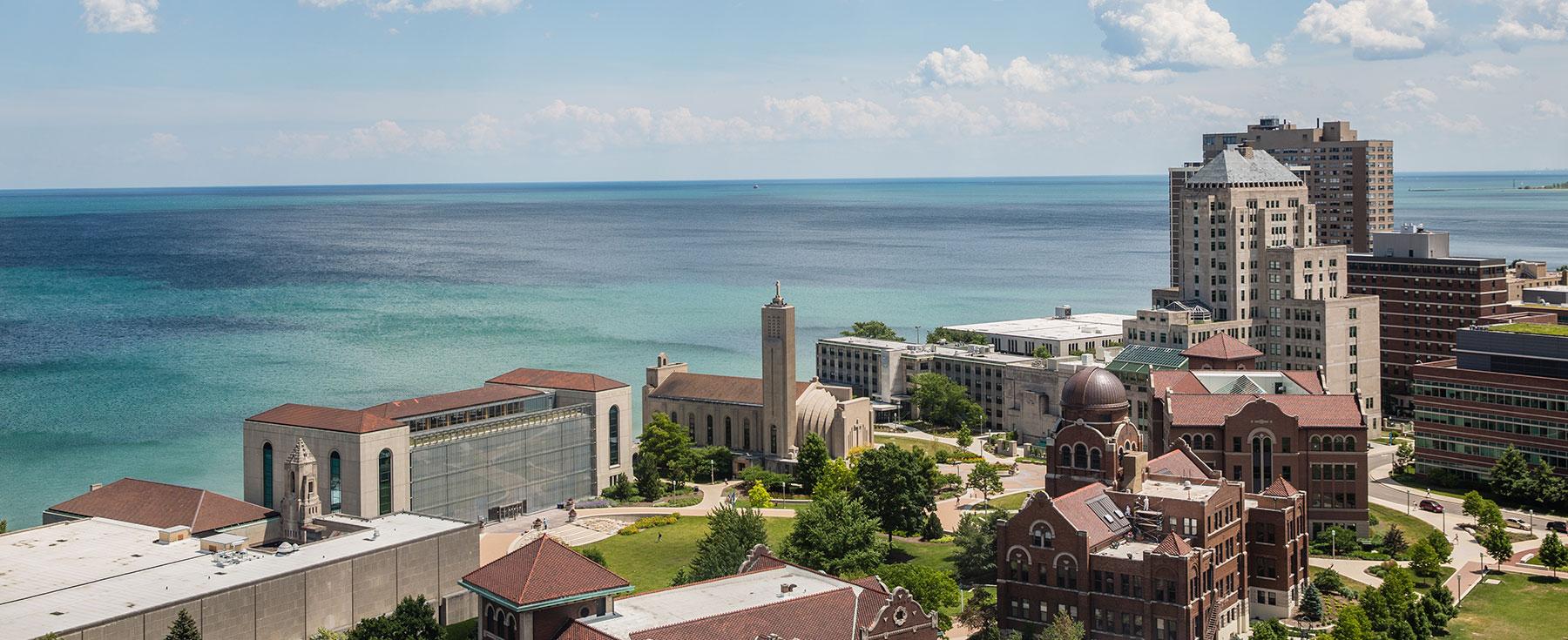 Aerial shot of  Loyola University Chicago .