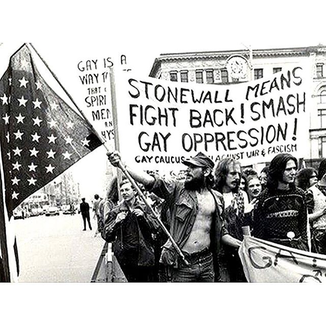 A little history: today is the anniversary of the Stonewall Riots, wherein queers and drag queens got sick of the shit and fought back. . Our brave predecessors are the reason that we celebrate Pride at the end of the month of June. They kicked off a revolution for rights that, although still ongoing today, is the reason that we LGBTQ folks have the rights we do today. . Pride is a celebration, because both celebrations and riots are forms of protest. Thank you to those brave queens, queers and homos for their legacy. . #stonewall #riot #lgbt #lgbtq #pride #history #queer #resist #nogodsnomasters #stonewallwasariot #🌈
