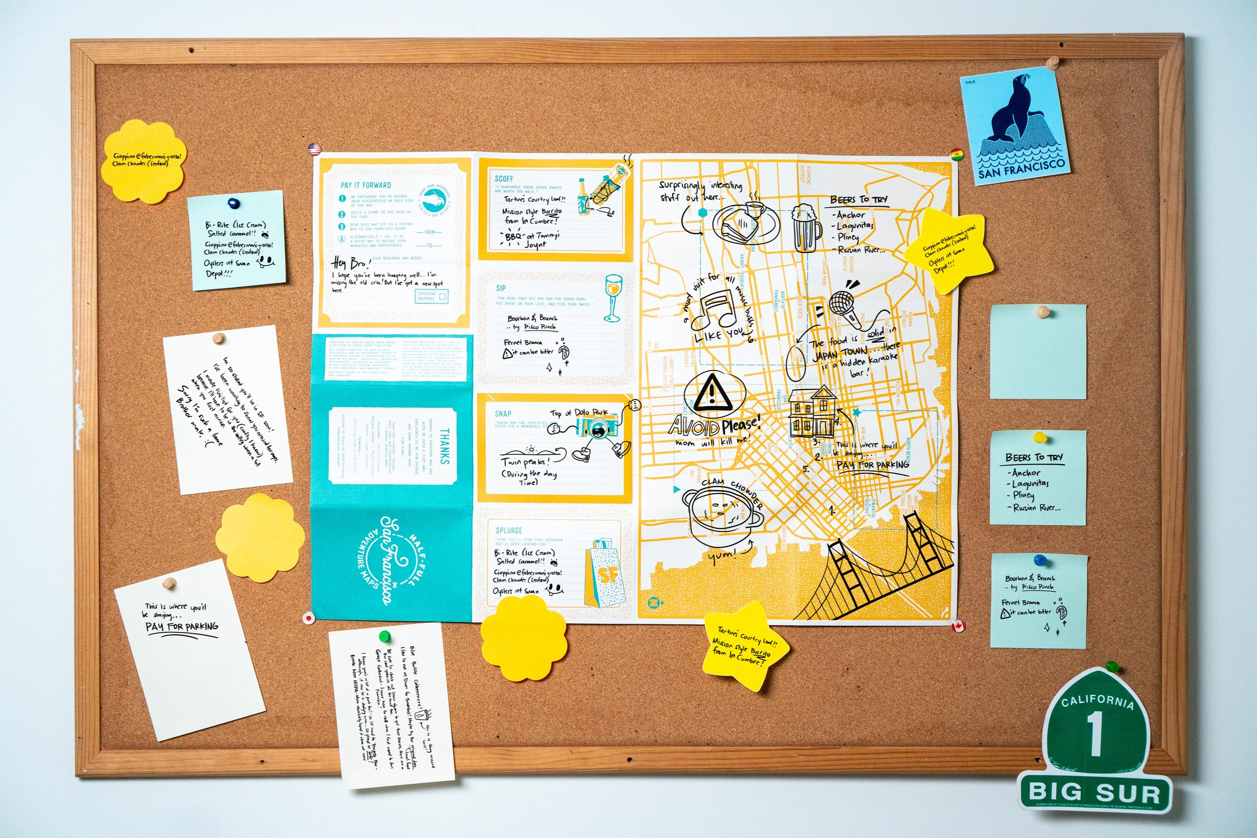 The rear side of the map is designed for you to both store your plans, and ideas that come accross before you leave and also to store your discoveries along the way. We actually