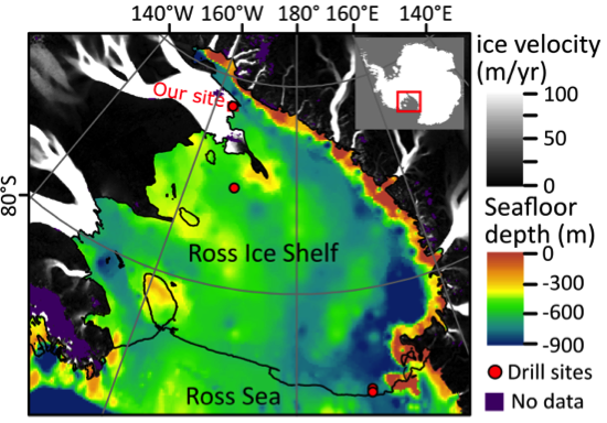 Only four observations of the ocean below the Ross Ice Shelf have been collected in the last 40 years.   The  Whillans Ice Stream Subglacial Access Research Drilling  (WISSARD) project drilled the most recent hole to the ocean cavity below the Ross Ice Shelf. Right: an aerial photo of the WISSARD field camp.
