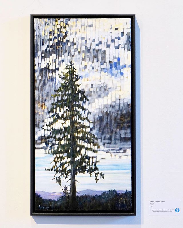 "Sentinel  THERESA ANDREAS-O'LEARY acrylic & gold metal leaf 13""x25"" framed $780  On display for the month of June at Ford Gallery in Portland — 20% of sales benefit Columbia RiverKeeper!  Check out our online store www.therecycledrainproject.org/store"