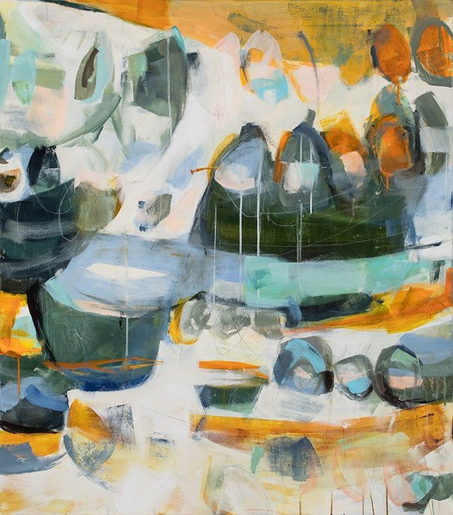 "'untitled 05-759 (let the rocks in the river remind you to re-member) by thérèse murdza.  Mixed Media on Canvas 48""x42""  On display for the month of June at Ford Gallery in Portland — 20% of sales benefit Columbia RiverKeeper!  Check out our online store www.therecycledrainproject.org/store"