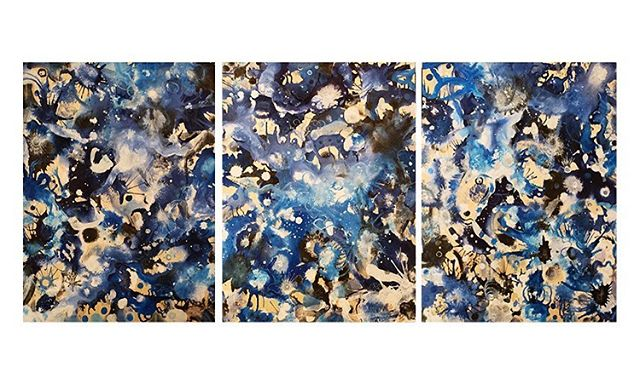 """States of Matter by Jenn Feeney  3 @ 12 x 16 - Overall size 16"""" x 36"""" Triptych  Acrylic Ink on Wood Panel  Triptych 595 Individual pieces 195 ea.  On display for the month of June at Ford Gallery in Portland — 20% of sales benefit Columbia RiverKeeper!  Check out our online store www.therecycledrainproject.org/store"""