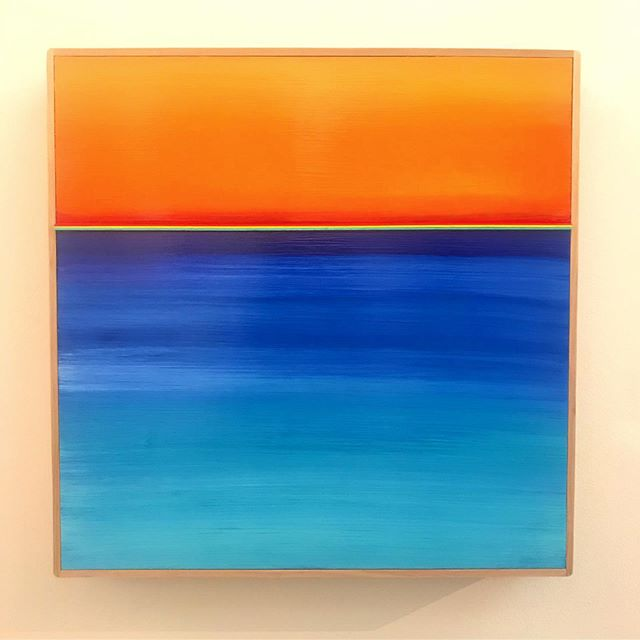 "Horizon #9 by KARL KAISER  Acrylic & Rainwater 16"" x 16"" $260"