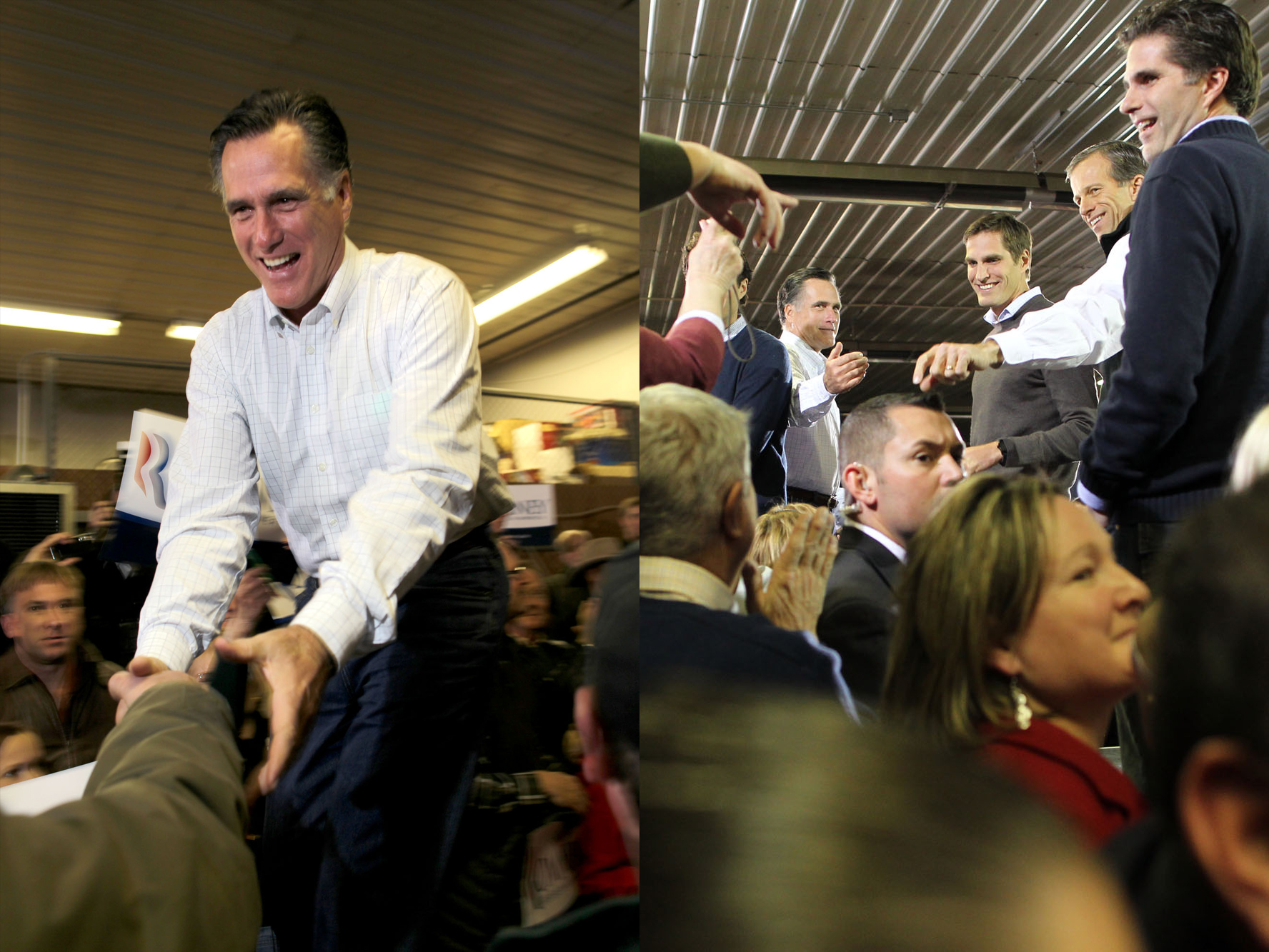 Republican presidential candidate Mitt Romney brings his family on stage at Pate Asphalt.