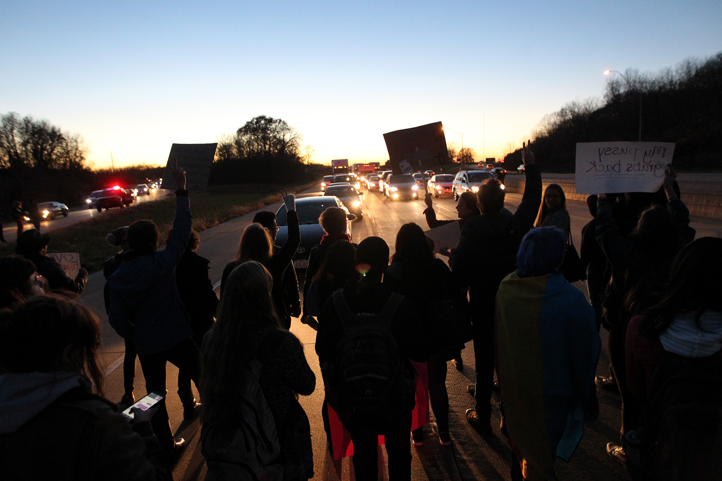 Protesters block traffic on Interstate 80 as a result of the 2016 presidential election.