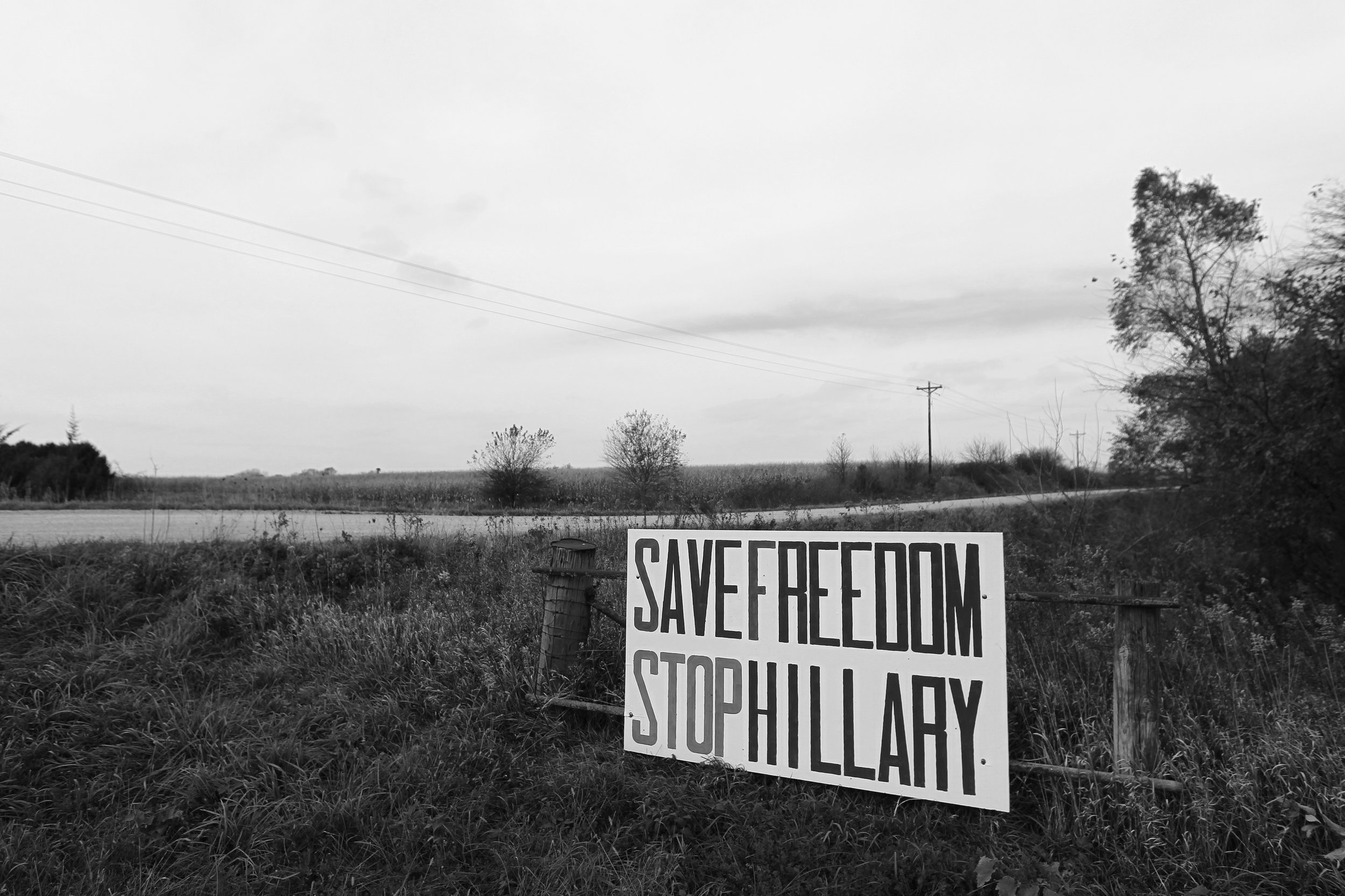 A large anti-Hillary Clinton sign is pictured in rural Tipton.