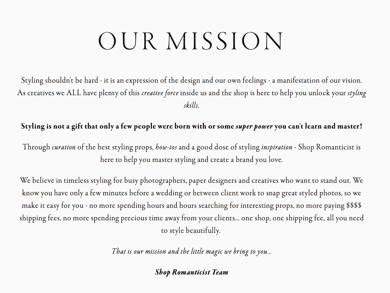 Mission for Shop Romanticist