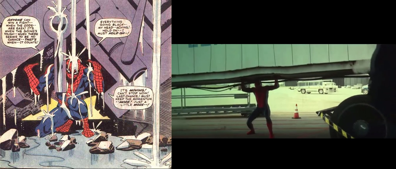 A comparison of Ditko's artwork and Tom Holland's Spider-Man in Captain America: Civil War