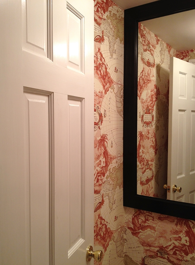 Powder Room with Pierre Frey Wallpaper