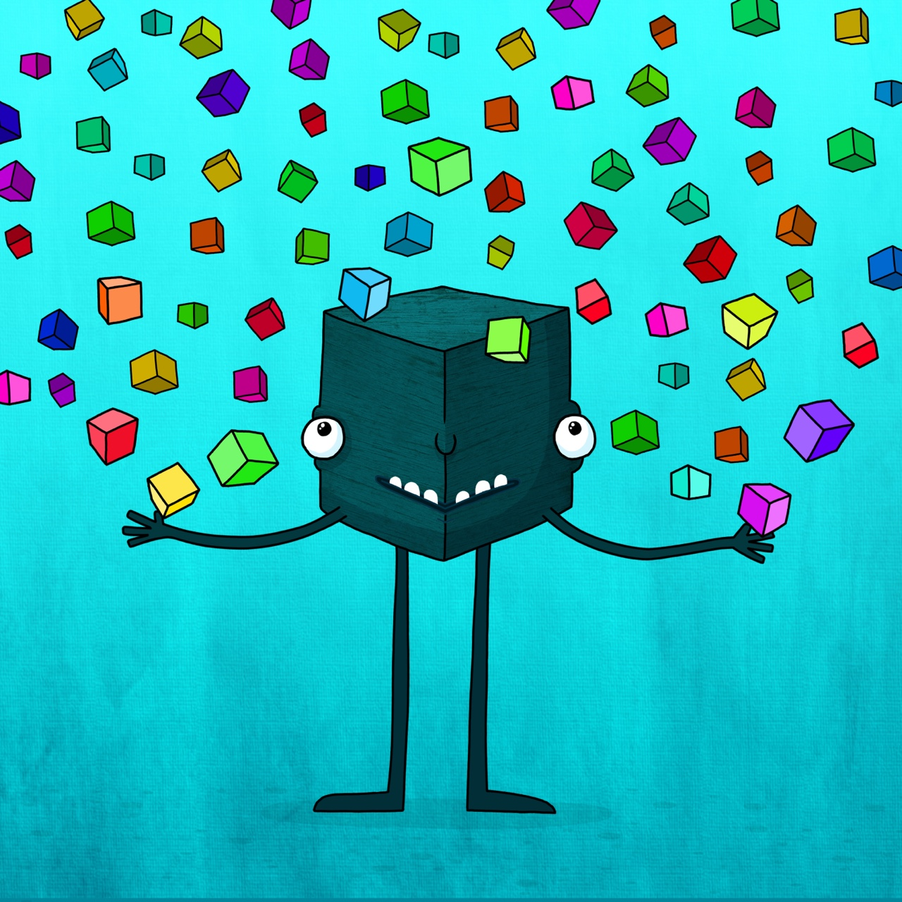 Cube levitating cubes.