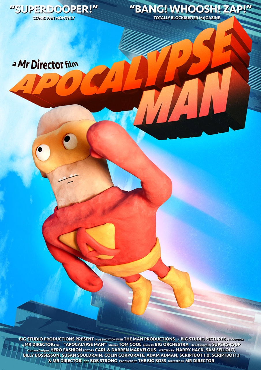 The poster for 'Apocalypse Man', a film within my short film 'Mr Director'.Watch the full animation here:  https://vimeo.com/122625153