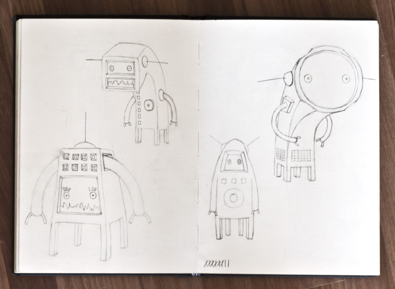 A spread of  Planet Four  initial drawings from my sketchbook.