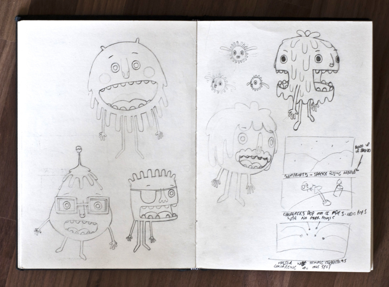 A spread of  Planet Three  initial drawings from my sketchbook.