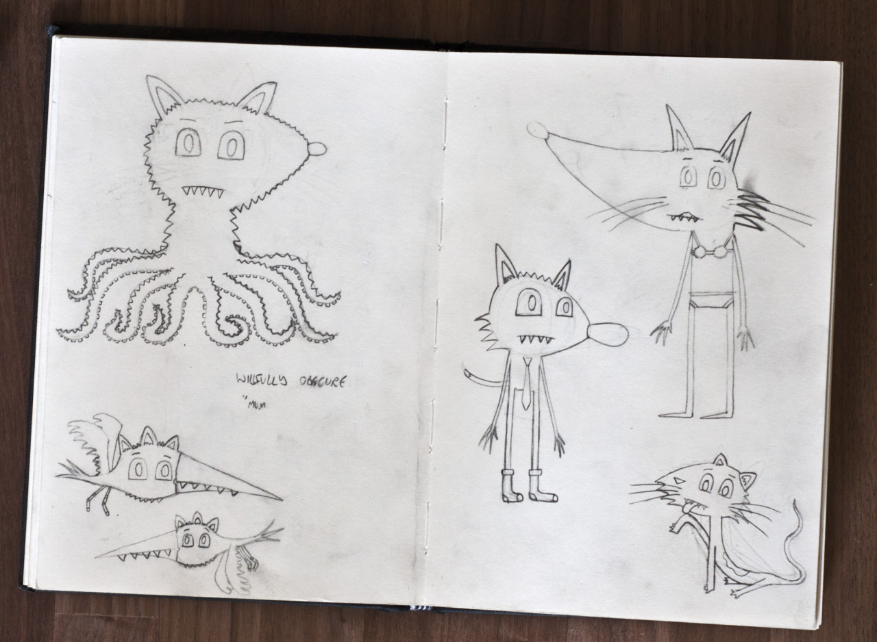 A spread of  Planet Two  initial drawings from my sketchbook.