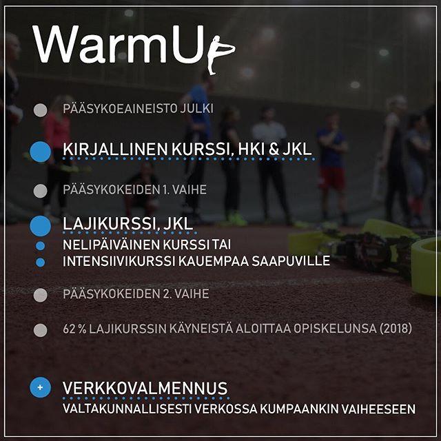 Ensi kevään valmennuskurssit on julkaistu!  Viime vuonna lajikurssin käyneistä 62% sai opiskelupaikan Liikunnalta - oletko sinä seuraava?  Varaa paikkasi ja toteuta unelmasi!  Kursseillamme on myös laatutakuu, katso lisätiedot sivuiltamme.  #warmup #liikunta #valmennuskurssi #laatutakuu
