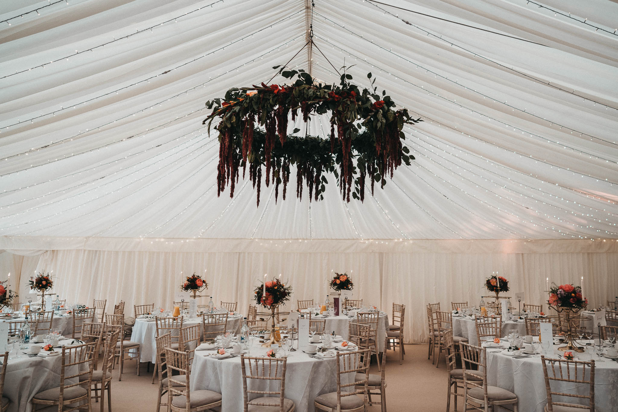 marquee interior in the grounds of sezincote house