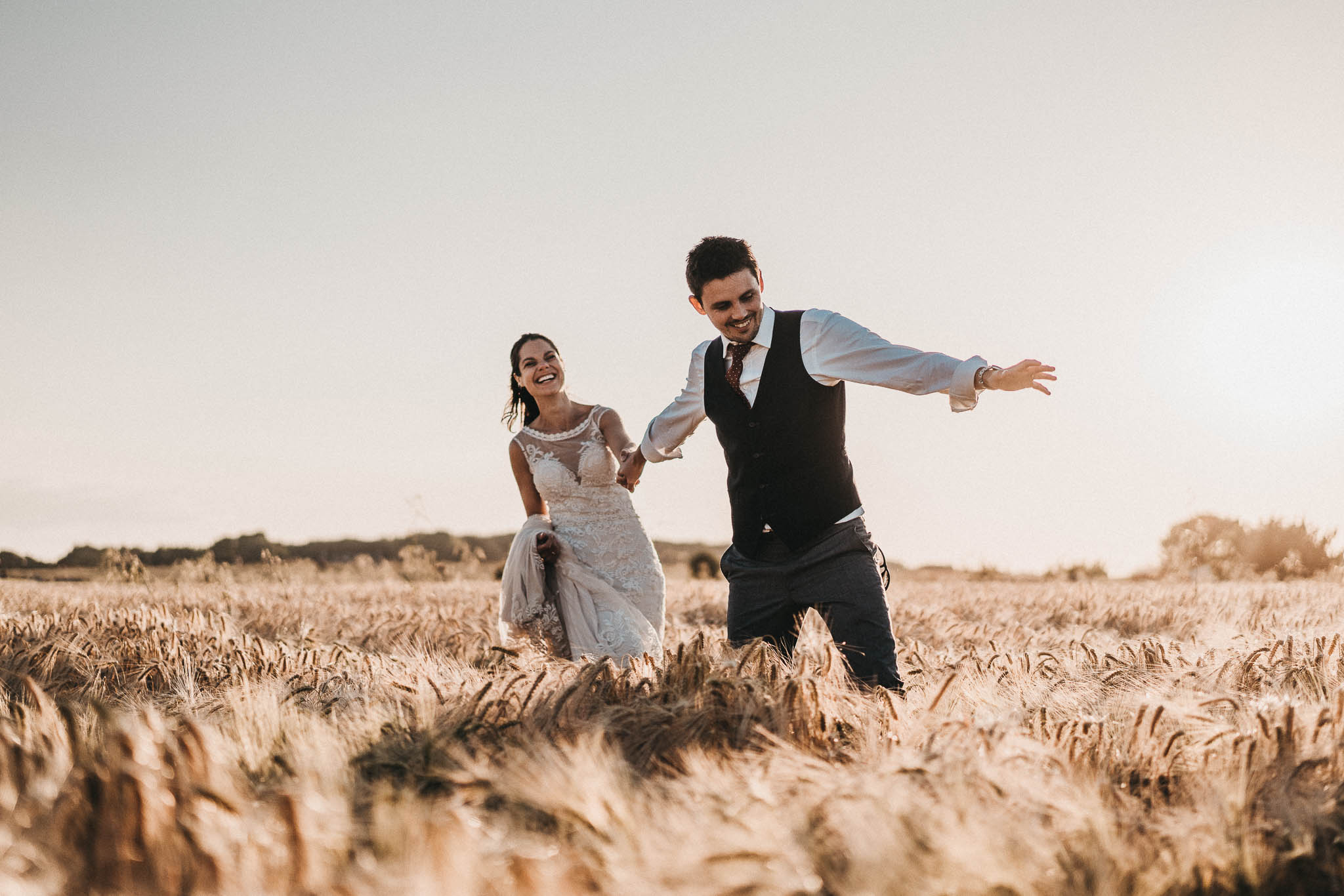 fun bride and groom portraits