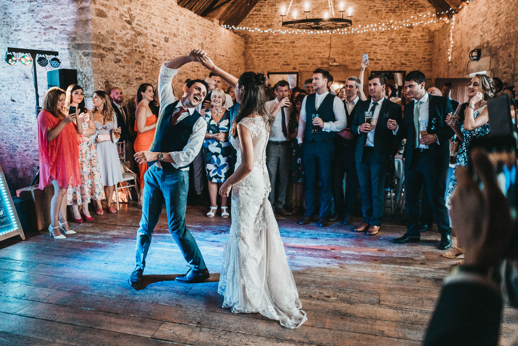 fun bride and groom first dance