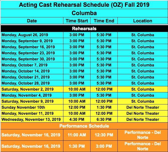 St Columba Wizard of Oz Rehearsal and Performance Schedule