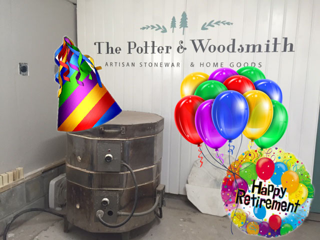 Yes, I did waste time photoshopping balloons and a party hat onto my kiln. I told you I have an irrational attachment to this kiln.