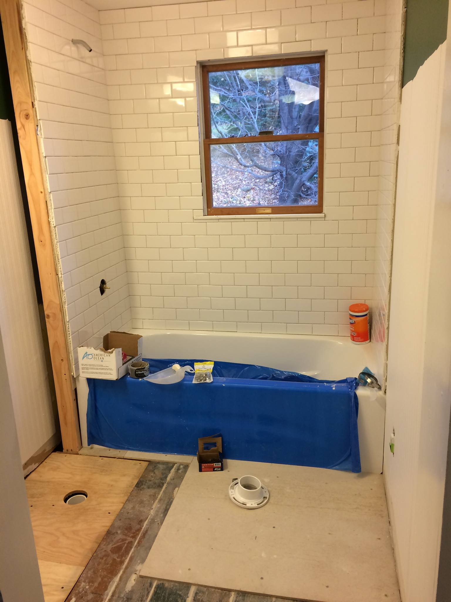 Mid-way through the first of 2 bathrooms we remodeled.