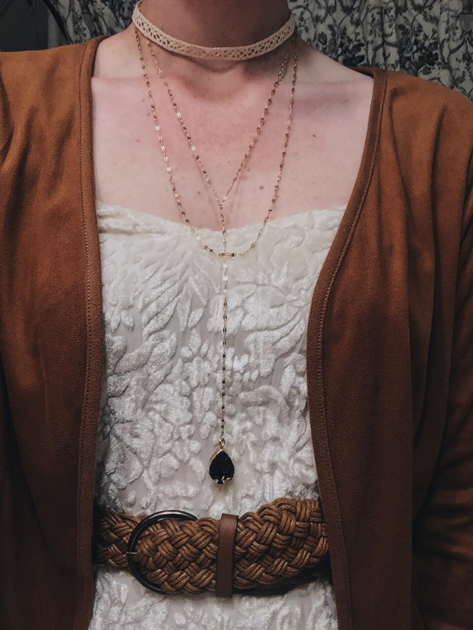 choker: Rue 21 $1 / necklace: Rue 21 $3.50 / dress: Goodwill