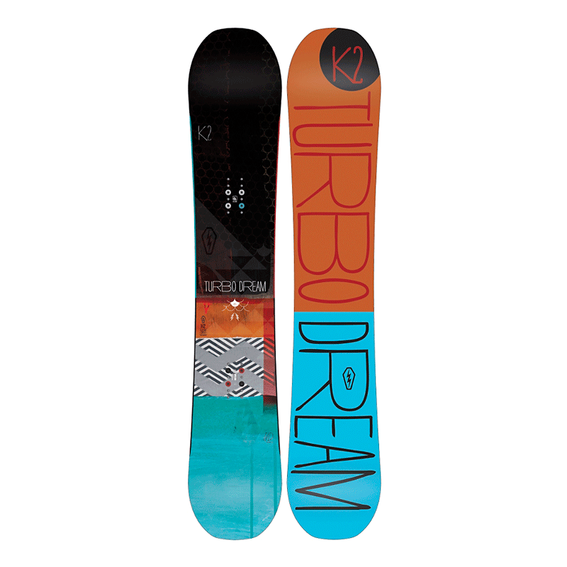 """K2 Turbo Dream Snowboard   A supremely versatile all mountain board that handles powder as easily as corduroy. The proprietary Harshmellow technology reduces excess vibrations and leg burn, while the """"Tweekend"""" design extends the rideable surface all the way, tip to tail creating an infinitely more stable experience.  $499, K2"""