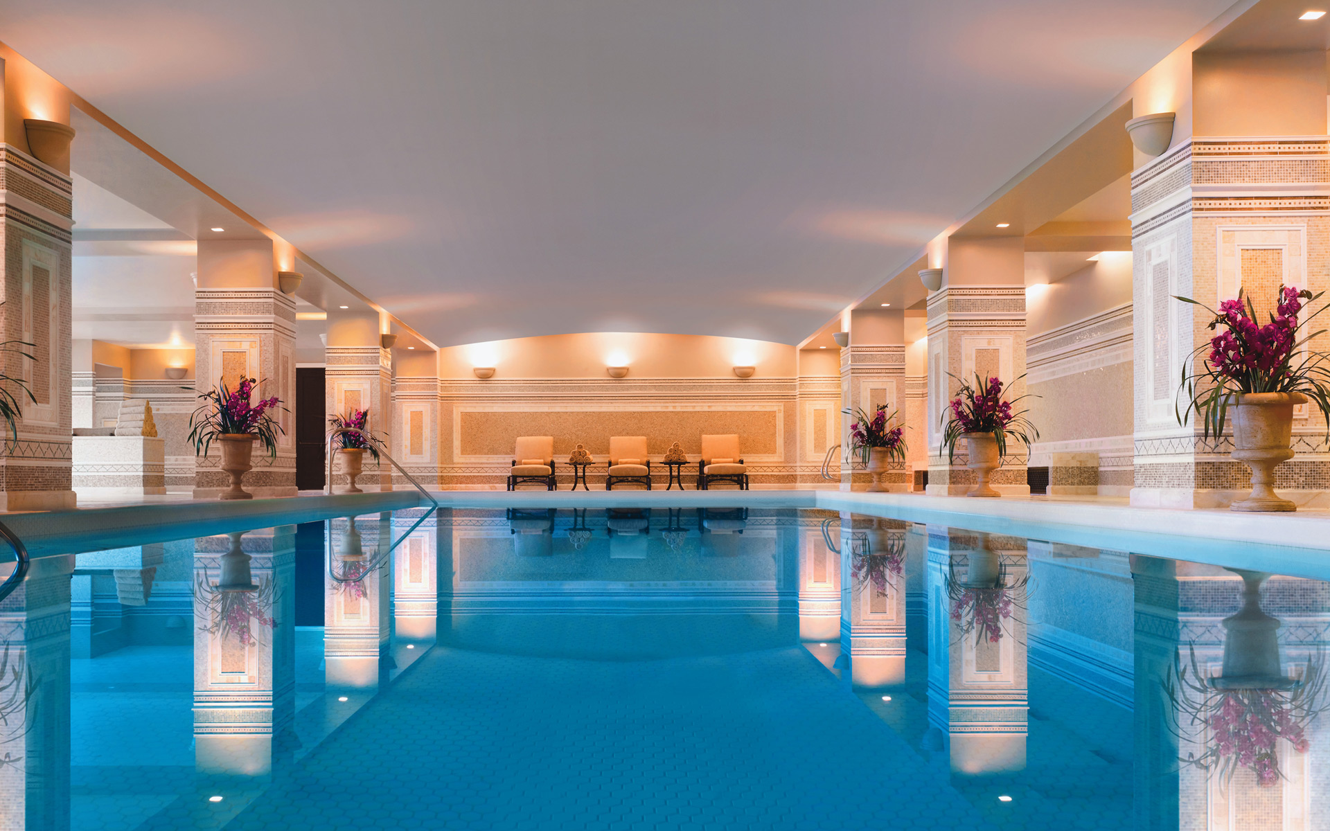 Spa Montage Deer Valley's pool is modeled after the Hearst Castle's pool.