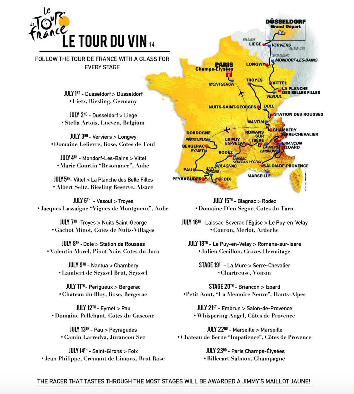 The 2017 Tour du Vin schedule at Jimmy's in Aspen, CO.
