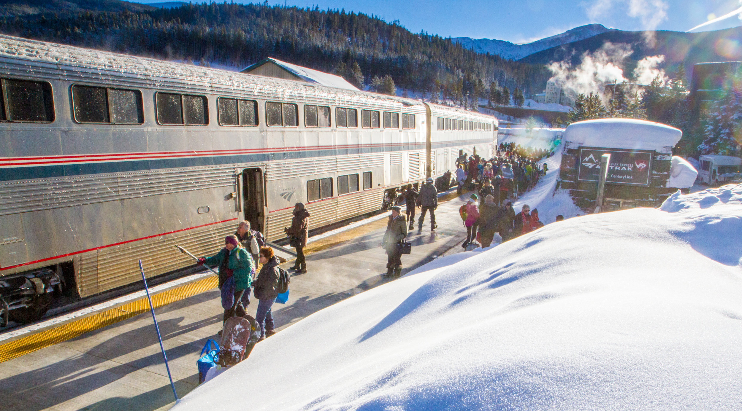 The Winter Park Express arrives at the Winter Park base area  Photo by Charles Stemen courtesy of Winter Park Resort