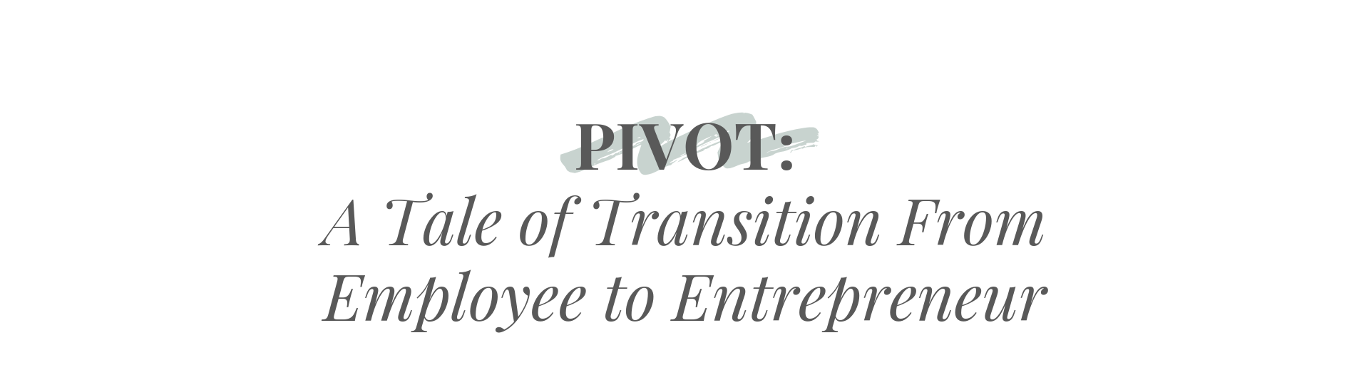 PIVOT: A Tale of Transition From Employee to Entrepreneur by Christine Barnes