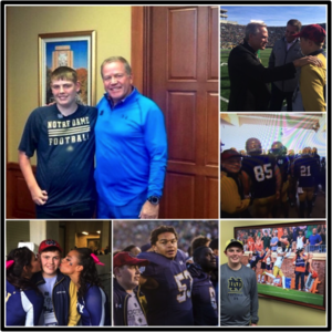 Make A Wish     October, 2015. The Notre Dame Football Family had the great opportunity to help make a wish come true for one of their biggest fans during the Navy game weekend. Jack Salmond is a 17-year old senior from Logan, Utah who wished to be a part of the Notre Dame Football Team for a game weekend. Accompanied by his parents Patty and Nyles and two of his sisters, Jack got to meet Coach Kelly, spend some time in meetings with the WR's and attend practice on Thursday. Prior to the start of practice Thursday, Jack worked with the kickers to perfect his craft and nailed a FG in Notre Dame Stadium. Friday gave Jack and his family a chance to visit campus and eventually finish the day off on stage with the team at the Pep Rally followed by the team dinner. Gameday proved to be the most outstanding experience for Jack as he had the opportunity to walk with the team to the stadium, run out onto the field prior to kickoff and the culmination of the trip came when Jack got to be on the field with the team singing the alma-mater, arm-in-arm with the team… victorious! Thank for visiting us Jack! Here's to you… our biggest fan in Logan, Utah!