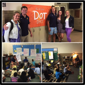 "International Dot Day     September, 2015. International Dot Day was celebrated this past September. Some Notre Dame Football Players along with some Irish Rowers got involved with Perley Elementary School for the occasion. International Dot Day is a global celebration of creativity, courage and collaboration. The Dot is the story of a caring teacher who dares a doubting student to trust in her own abilities by being brave enough to ""make her mark"". What begins with a small dot on a piece of paper becomes a breakthrough in confidence and courage. The guys had a chance to help the kids talk about making their mark and discovering everyone's abilities!"