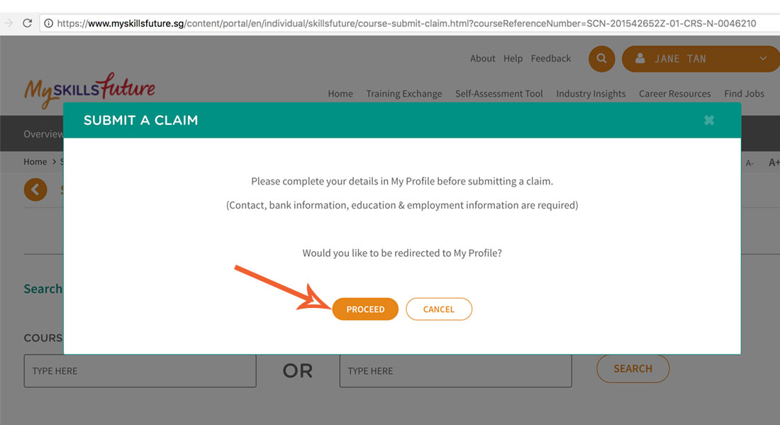7. Click  Proceed  and fill in your profile as requested.