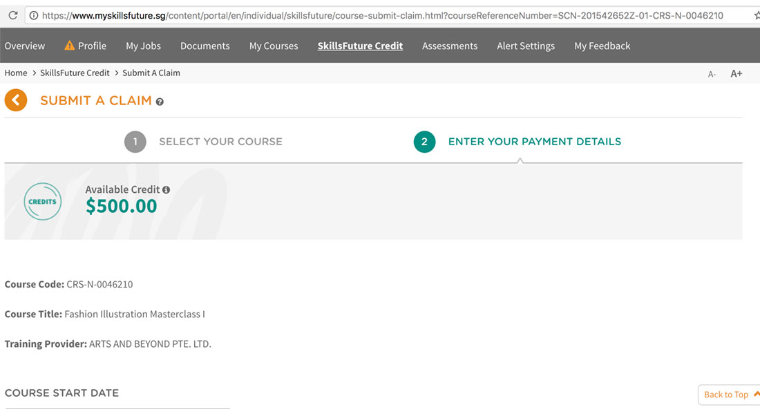 9. This page will show you your available credit.