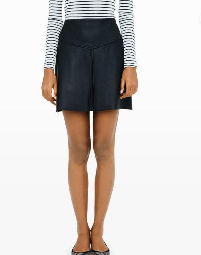 Club Monaco Franjeska Faux Leather Skirt