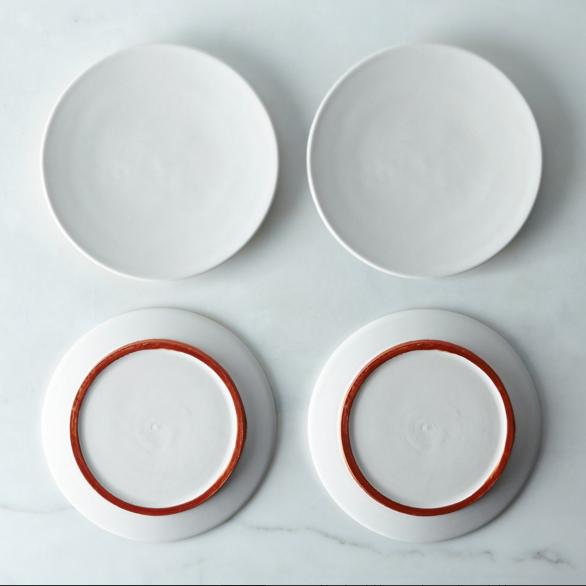 White and copper ceramic plates