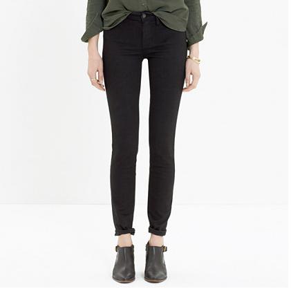 Madewell skinny skinny jeans in black frost
