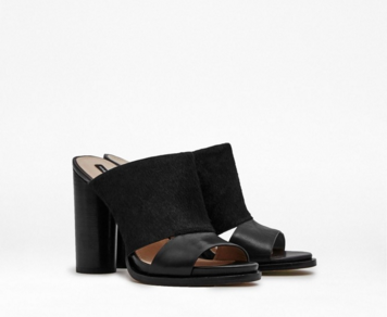 French Connection: Ursie leather and ponyskin mules SALE