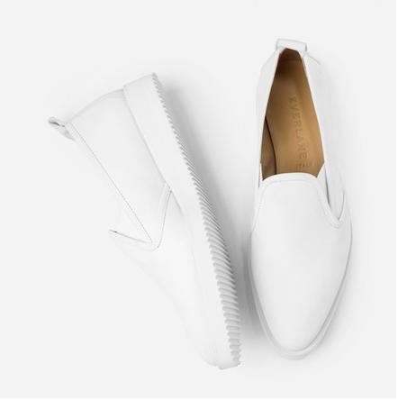 EVERLANE: Nubuck Street Shoe in white
