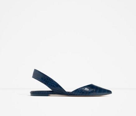 Embossed slingback shoe