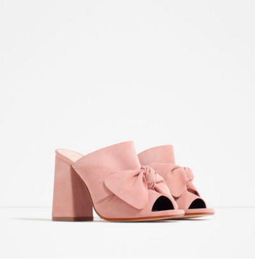 Leather high heel sandal with bows