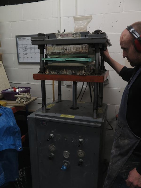 Jason aligning the moulds on the SuperPress.