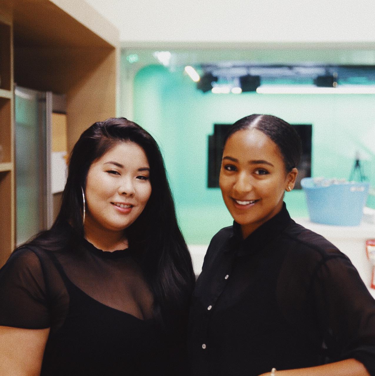 With artist, Ariel Oki