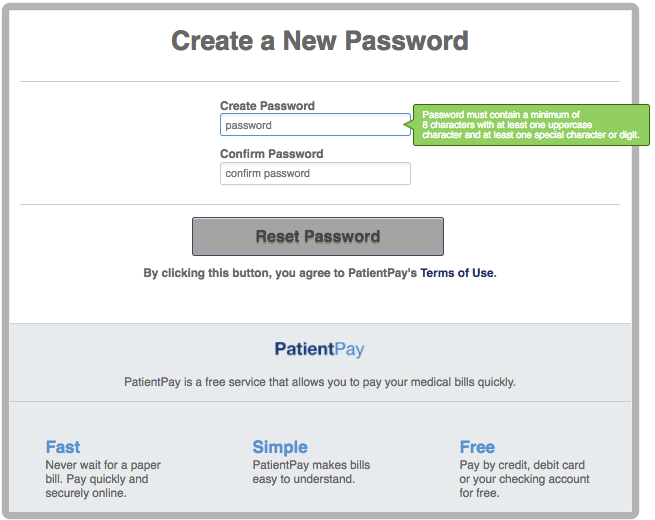 Create new password
