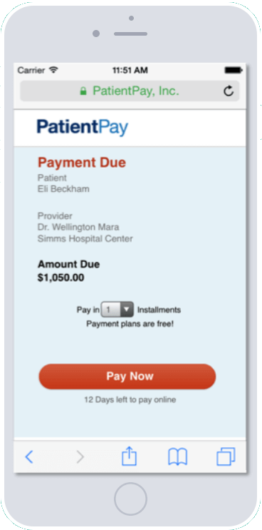 Mobile patient payment screen