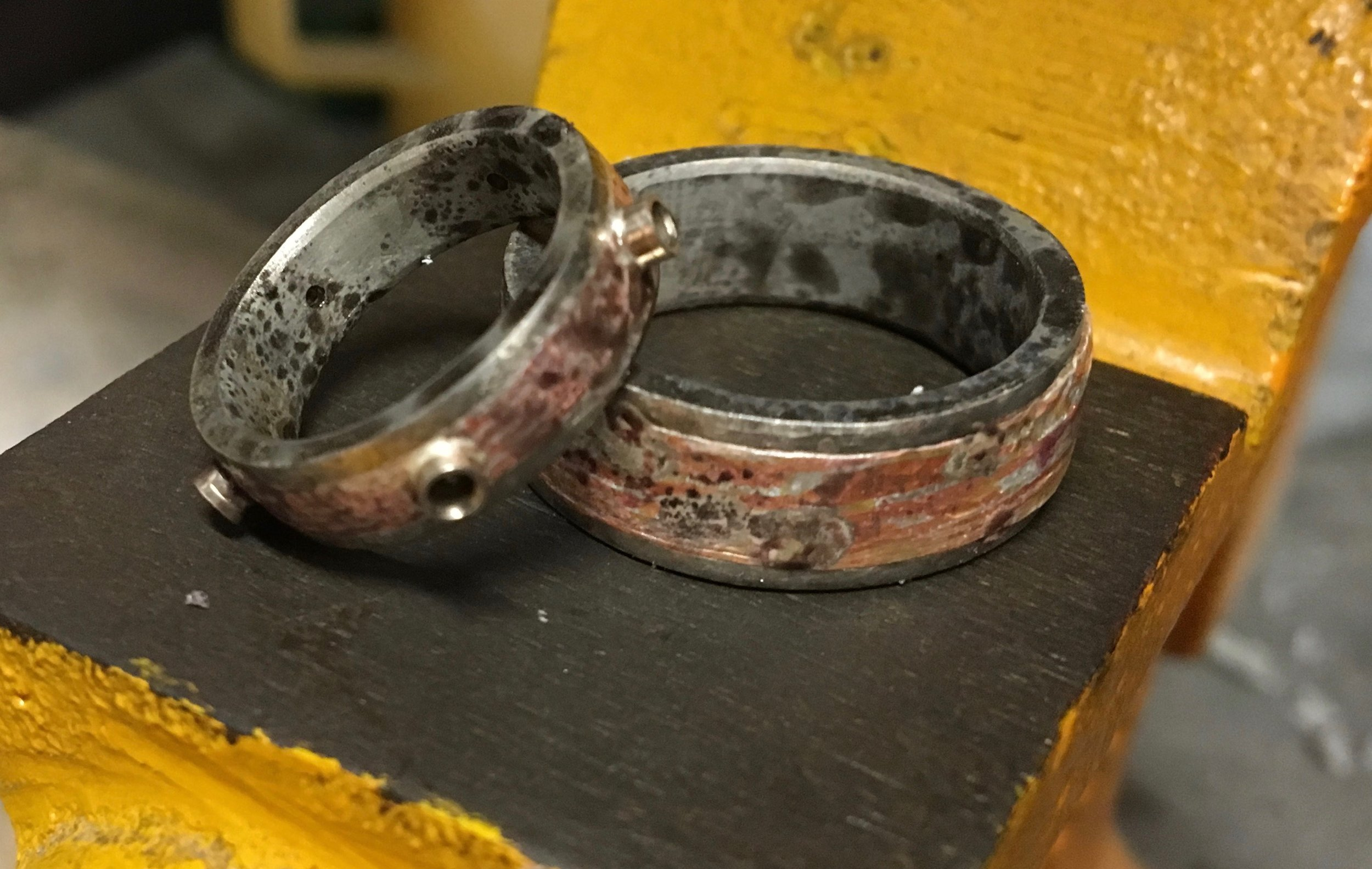 Both rings together after all soldering has been completed....